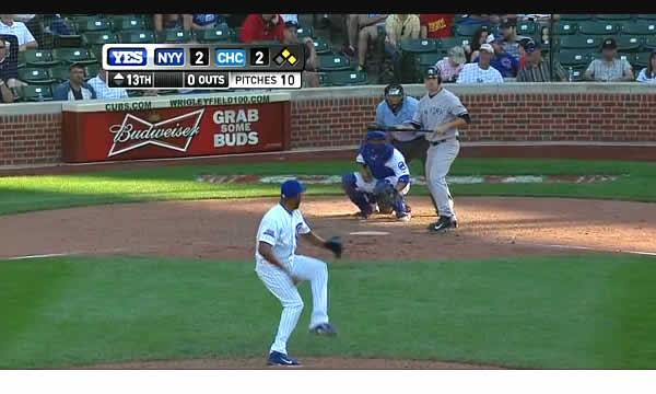 Preston Claiborne's first MLB bunt in Jeter's Wrigley finale.