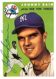 Johnny Sain Baseball Card New York Yankees