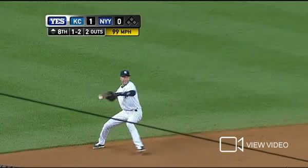 Derek Jeter makes a gem play vs Kansas City on September 5, 2014 at Yankee Stadium