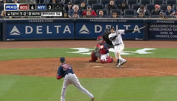 Mark Teixeira homers on a line drive to left field in the bottom of the 16th.
