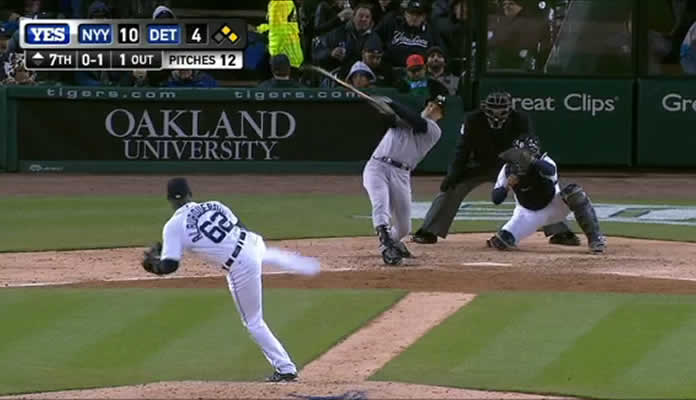 Mark Teixeira takes Al Alburquerque to deep right for a three-run homer, increasing the Yankees' lead to 13-4 in the 7th inning