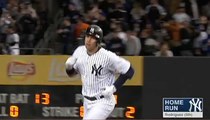 Alex Rodriguez clubs his 659th career home run off Jon Niese of the New York Mets at Yankee Stadium on April 26, 2015