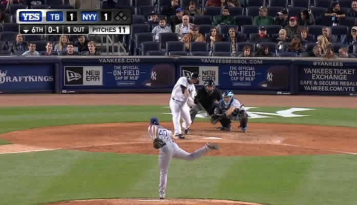Brian McCann blasts the go-ahead home run against Tampa on April 27, 2015