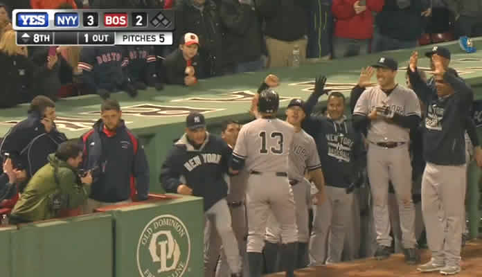Alex Rodriguez greeted by teammates after hitting home run to break 2-2 tie and tie Wille Mays on all time home run list