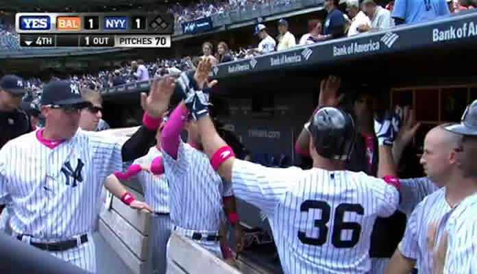 Carlos Beltran lines a solo home run to right field, his first of 2015, to get the Yankees on the board and tie the game at 1 on May 10, 2015 at Yankee Stadium