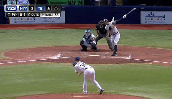 Alex Rodriguez launches a solo home run to right-center field, his ninth of the season and his 1,000th RBI with the Yankees on May 14, 2015 at Kansas City