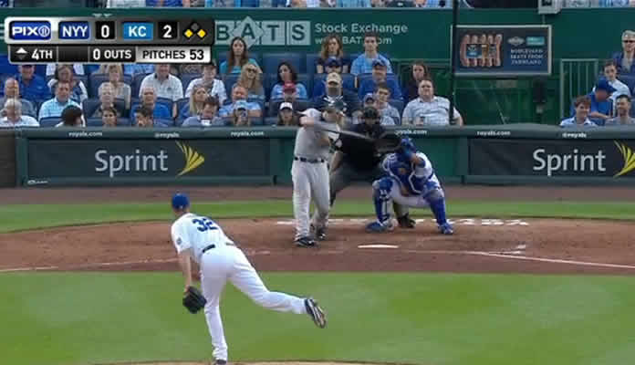 Brian McCann lifts a sacrifice fly to right field, driving in Alex Rodriguez to cut the lead to one in the top of the 4th inning on May 15, 2015 in Kansas City