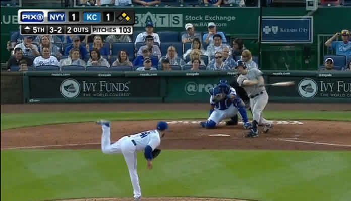 Chase Headley crushes a three-run home run to left field, his fifth of the season, giving the Yankees a three-run lead on May 16. 2015 in Kansas City