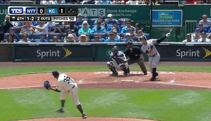 Alex Rodriguez hammers a double off the top of the right-center-field wall for the Yankees' first hit of the ballgame on May 17, 2015 at Kansas City