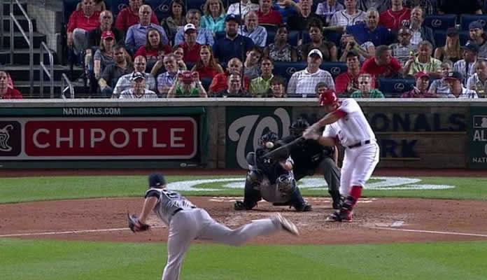 Ryan Zimmerman launches a walk-off two-run home run off the right-field foul pole, sending the Nationals to an 8-6 win in the 10th on May 19, 2015 at Nationals Park