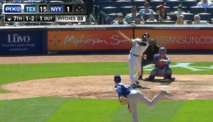 Didi Gregorius slugs his second homer in as many games, going deep off Nick Martinez with a solo shot into the right-field seats on May 23, 2015 at Yankee Stadium versus Texas Rangers