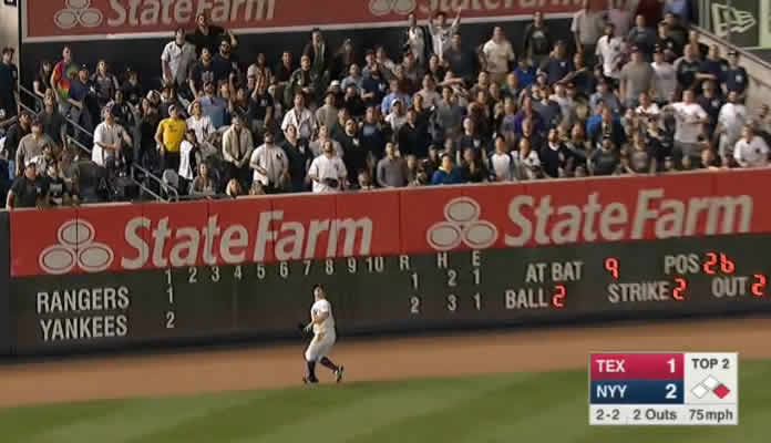 Brett Gardner home run sail into left seats at Yankee Stadium versus Texas Rangers on May 24, 2015