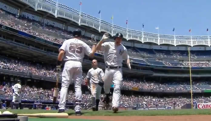Chase Headley hit's the first of 5 New York home runs at Yankee Stadium on May 25, 2015