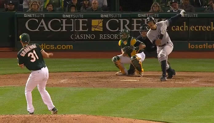 Alex Rodriguez hits a sac fly to score Brett Gardner in Oakland on May 28, 2015 for his 1,996th career RBI
