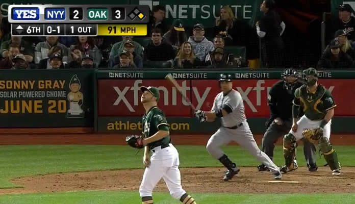 Carlos Beltran crushes a two-run home run to center field, giving the Yankees a 4-3 lead with his fourth HR of the season on May 30, 2015 in Oakland