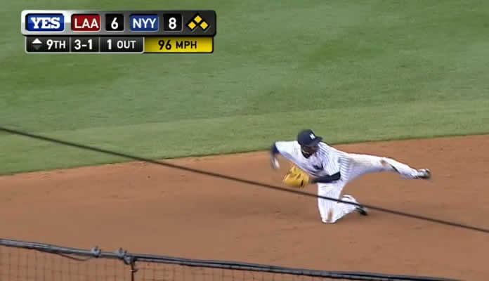 Didi Gregorius makes a nice diving stop in the hole and fires to second for the forceout, allowing just one run to score on the play on June 5, 2015 at Yankee Stadium