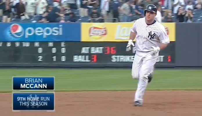 Yankees catcher Brian McCann blasts 2-run homer off Garrett Richards of the Angels at Yankee Stadium on June 6, 2015