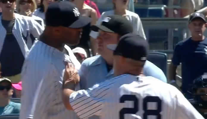 CC Sabathia and Joe Girardi get ejected by the home-plate umpire after the Yankees turn an inning-ending double play at Yankee Stadium on June 7, 2015