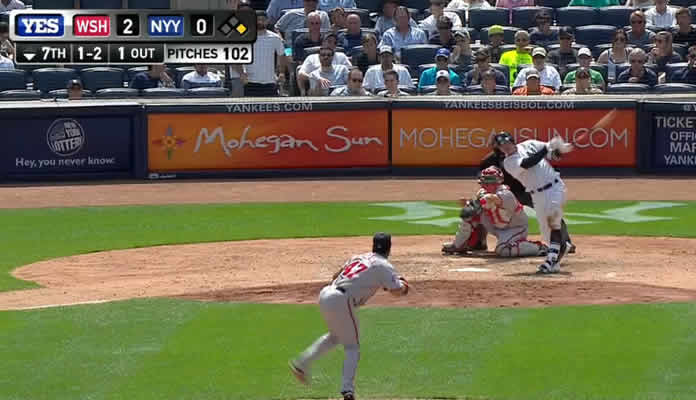 Brendan Ryan crushes a triple over the head of Denard Span, driving in Chris Young and putting the Yankees on the board in the 7th on June 10, 2015 at Yankee Stadium