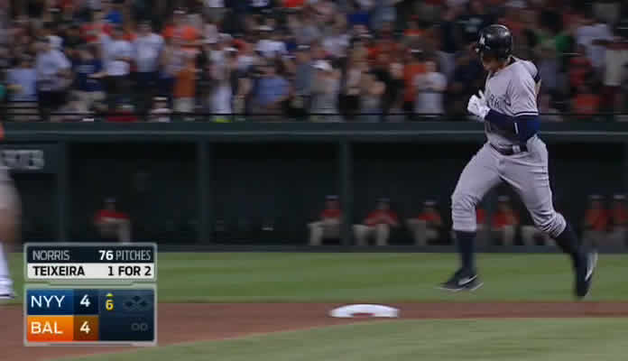 Alex Rodriguez blasts a 2-run homer to move past 2,000 career RBI on June 13, 2015 at Camden Yards in Baltimore