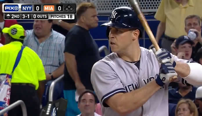 Mark Teixeira launches a solo shot to right-center off Tom Koehler for his team-leading 18th home run of the season on July 15, 2015 at Marlins Park