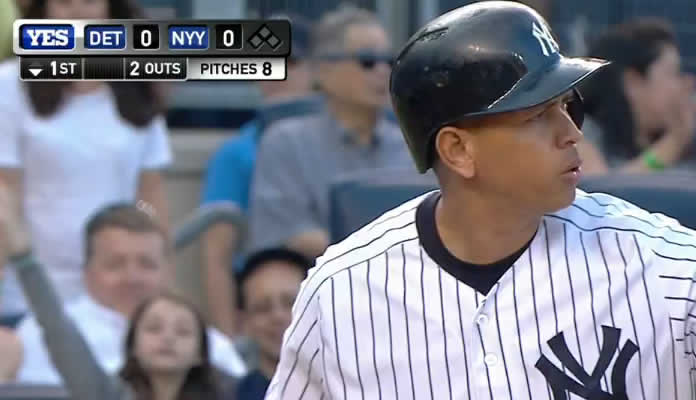 Alex Rodriguez hits a home run to become the 29th member of the 3,000-hit club, giving the Yankees an early 1-0 lead on June 19, 2015 at Yankee Stadium