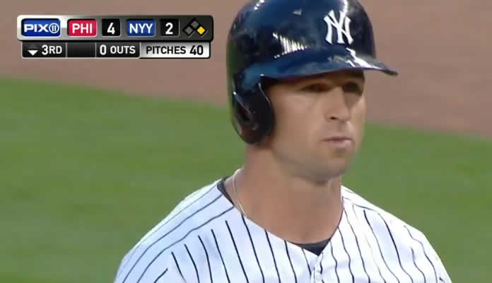 Brett Gardner goes 4-for-4 with a walk against the Phillies, including two bunt singles and a deep three-run homer on June 23, 2015 at Yankee Stadium
