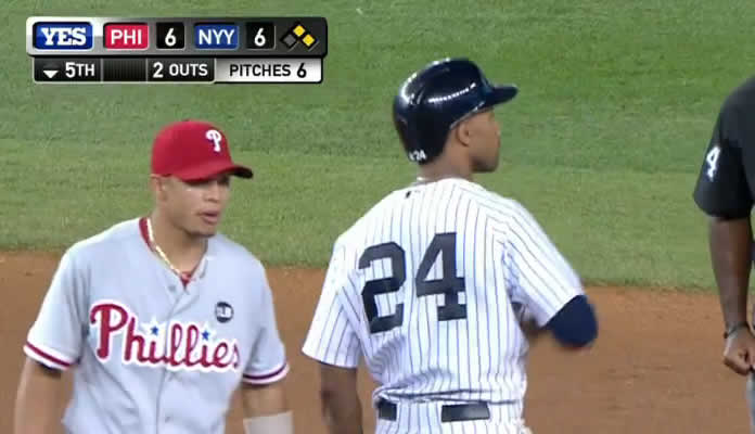 Chris Young ties the ballgame at 6 in the 5th inning with a line-drive double down the left-field line, scoring Carlos Beltran at Yankee Stadium on June 23, 2015
