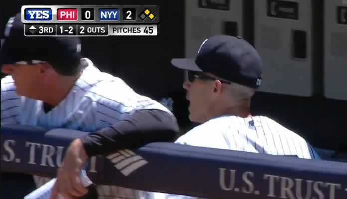 Joe Girardi is ejected by the first-base umpire after he disagrees with the call on a checked swing in the top of the 3rd inning on June 24, 2015 at Yankee Stadium