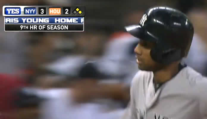Chris Young cranks a three-run home run to deep left off Will Harris to give the Yankees a 3-2 lead in the 7th inning at Minute Maid Field on June 26, 2015