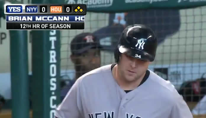 Brian McCann crushes his 11th career grand slam to deep right field to give the Yankees the early 4-0 lead in the top of the 1st at Minute Maid Park on June 27, 2015