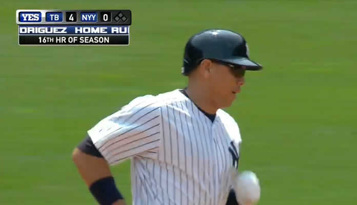 Alex Rodriguez connects for a solo homer, his 16th of the season, to put the Yankees on the board in the 6th inning at Yankee Stadium on July 5, 2015