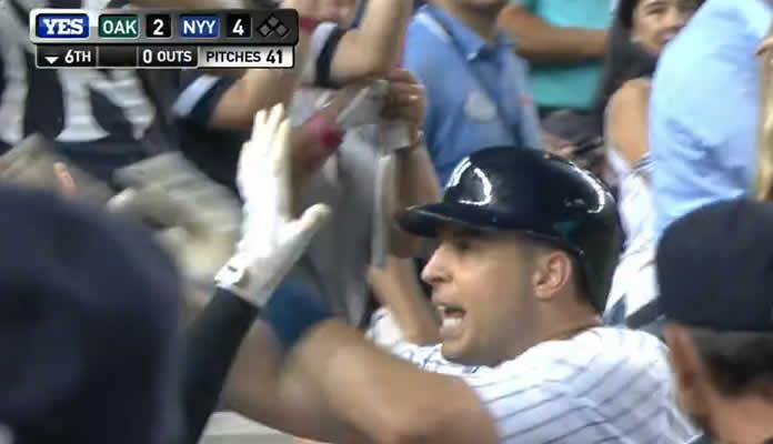 Mark Teixeira hits two solo home runs and makes a pair of great defensive plays to help lead the Yankees to a 5-4 win at Yankee Stadium on July 8, 2015