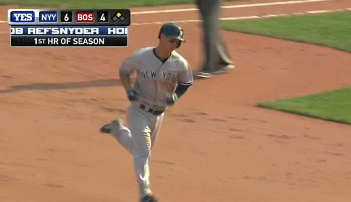 Rob Refsnyder crushes a two-run shot over the Green Monster for the first homer of his Major League career on July 12, 2015