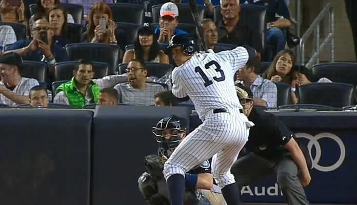 Alex Rodriguez breaks the tie in the 7th inning with a solo home run to right-center, giving the Yankees a one-run lead at Yankee Stadium on July 17, 2015