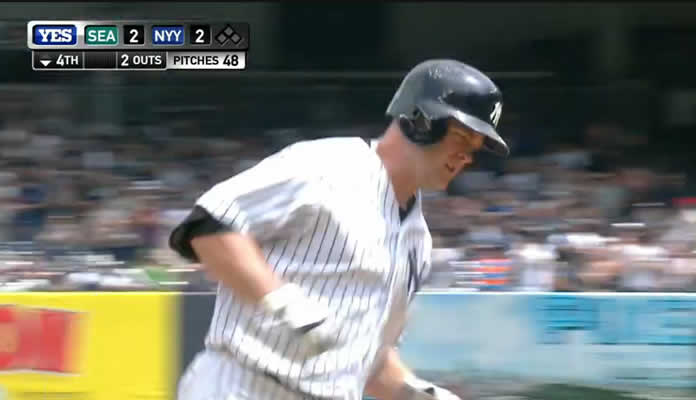 Brian McCann knots the game at 2 with a long two-run homer to right-center field at Yankee Stadium on July 18, 2015