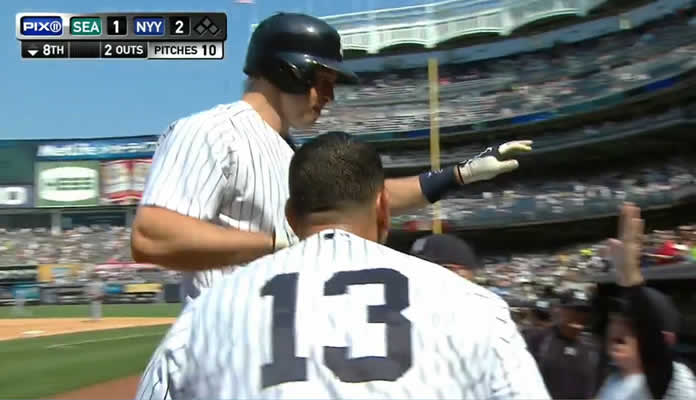 Mark Teixeira deposits Fernando Rodney's pitch over the wall in right to break a tie in the 8th and give the Yankees the lead on July 19, 2015 at Yankee Stadium