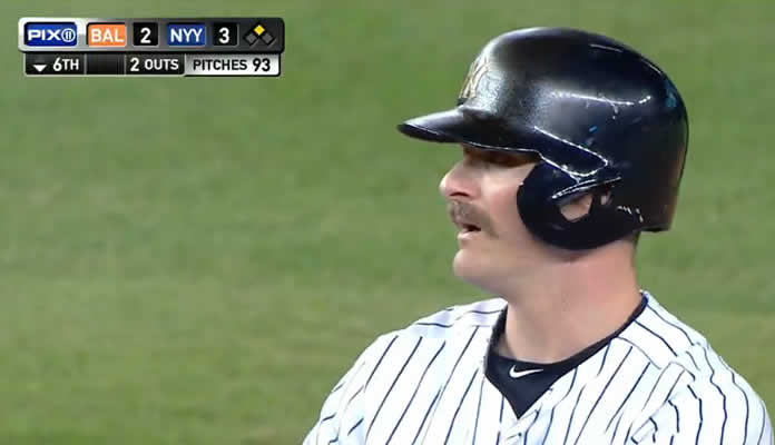 Brendan Ryan smokes a double down the third-base line, driving in Didi Gregorius from first base and giving the Yankees a 3-2 lead on July 21, 2015 at Yankee Stadium