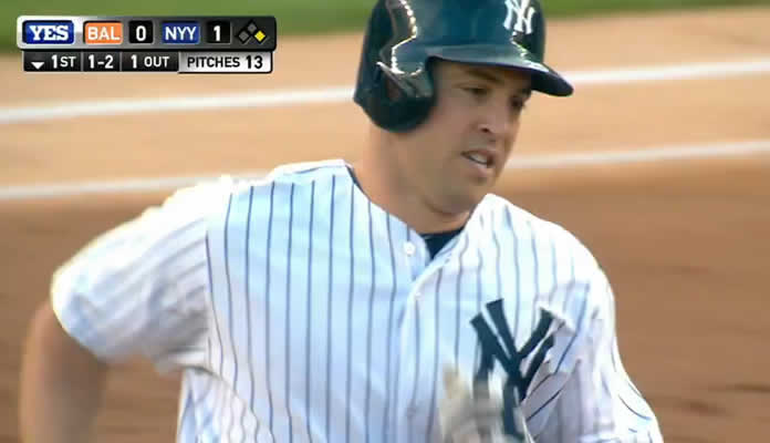 Mark Teixeira laces a two-run home run just inside the right-field foul pole, his 24th of the season, padding the Yankees' lead on July 22, 2015 at Yankee Stadium