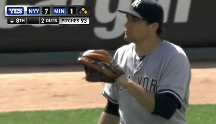 Nathan Eovaldi allows only two runs on eight hits and strikes out five batters over eight-plus innings in his win against the Twins at Target Field on July 26, 2015