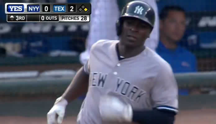 Didi Gregorius belts a two-run homer to left off Matt Harrison, scoring Chase Headley to tie the game at 2 in the top of the 3rd on July 27, 2015
