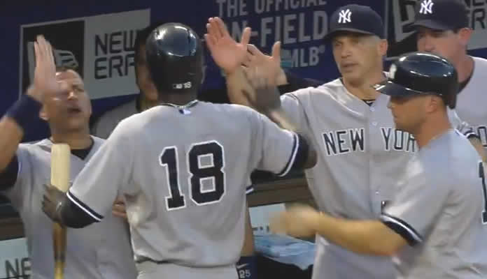 The Yankees come back from a 5-0 deficit to win 21-5, scoring their most runs since 2011 including 11 in the 2nd inning on July 28, 2015