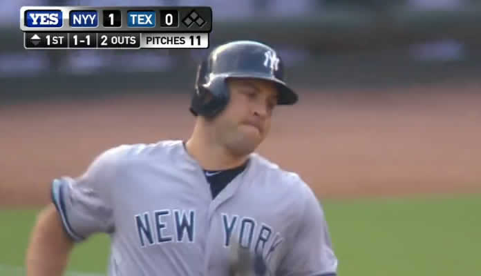 Mark Teixeira blasts a solo home run to straightaway center field, his 25th of the season, giving the Yankees a 2-0 lead in the 1st on July 30, 2015