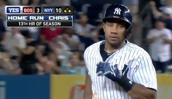 Chris Young knocks in the Yankees' seventh, eighth and ninth runs of the 7th inning with a three-run homer to left field on August 4, 2015 at Yankee Stadium