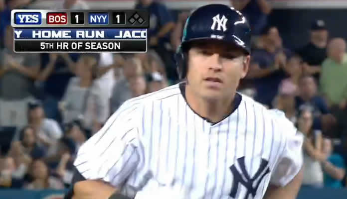 Jacoby Ellsbury hits a solo home run to the second deck in right and the Yankees take a 2-1 lead in the 7th inning at Yankee Stadium on August 6, 2015