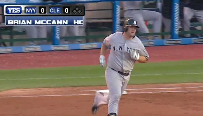 Brian McCann hits a long solo home run to right field in the top of the 2nd to put the Yankees ahead, 1-0 at Cleveland on August 12, 2015