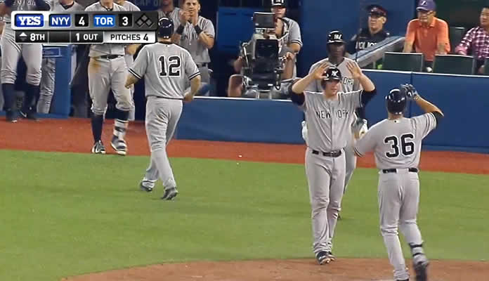 Carlos Beltran slugs a pinch-hit, three-run home run to right-center field, giving the Yankees a 4-3 lead in the top of the 8th on August 14, 2015 at Toronto