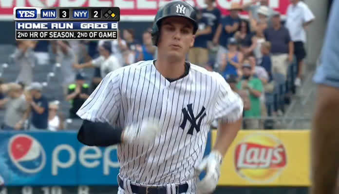 After hitting his first MLB home run earlier in the game, Greg Bird hits his second two-run homer to give the Yankees a 4-3 lead at Yankee Stadium on August 19, 2015