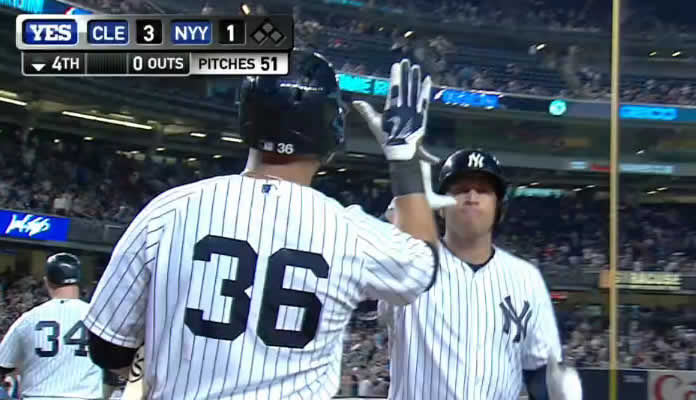 Alex Rodriguez puts the Yankees on the board with a solo shot to left field in the bottom of the 4th inning at Yankee Stadium on August 20, 2015