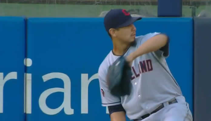 Carlos Carrasco throws 6 2/3 innings against the Yankees, collecting 11 strikeouts and walking one at Yankee Stadium on August 21, 2015